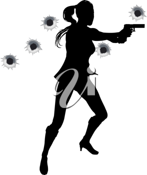 Royalty Free Clipart Image of a Woman Shooting a Gun