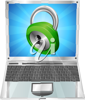 Royalty Free Clipart Image of a Lock on a Laptop