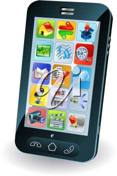Royalty Free Clipart Image of a Touchscreen Smartphone