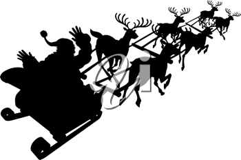 Royalty Free Clipart Image of a Silhouette of Santa in His Sleigh