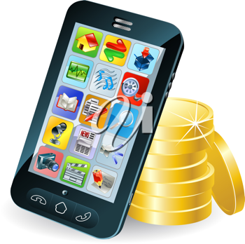 Royalty Free Clipart Image of a Smartphone on Coins