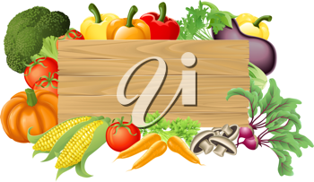 Royalty Free Clipart Image of a Wooden Sign Surrounded by Vegetables and Fruit