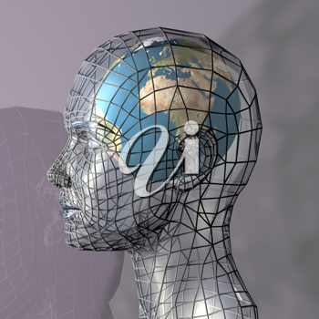Royalty Free Clipart Image of a Globe Inside a Head