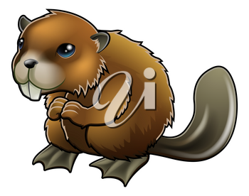 A cute cartoon brown beaver mascot character