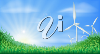 Illustration of wind turbines in green landscape for sustainable renewable energy power generation