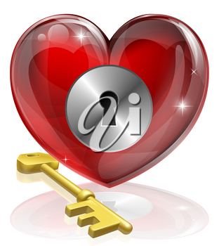 Heart lock and key concept illustration, could be symbol for finding love or repressing feelings or being guarded