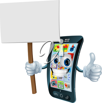 Mobile phone mascot character holding an announcement board sign smiling and doing a thumbs up gesture