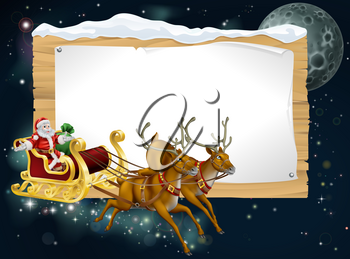 Santa Christmas sleigh background with Santa riding in his sleigh delivering Christmas gifts