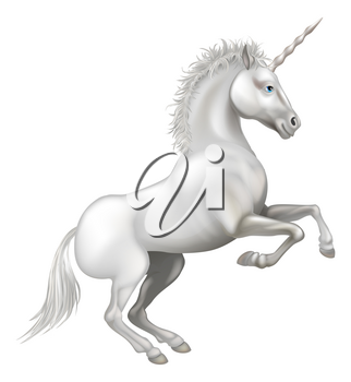 Illustration of a friendly happy smiling cartoon unicorn rearing on its hind legs
