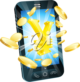Yen money phone concept illustration of mobile cell phone with gold yen sign and coins
