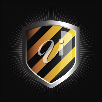 Royalty Free Clipart Image of a Striped Shield