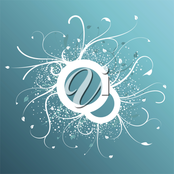 Royalty Free Clipart Image of a Blue and White Floral Ring With Flourishes