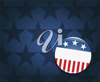 Royalty Free Clipart Image of an Election Campaign Button on a Blue Star Background