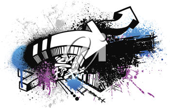 Royalty Free Clipart Image of a Graffiti Sketch With Arrows