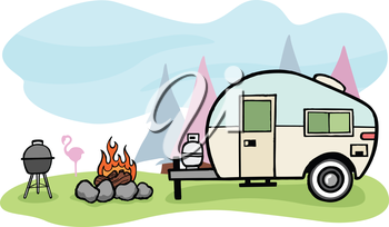 Vintage style camper trailer and camping scene