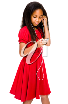 Royalty Free Photo of a Female Model Listening to her Mp3 Player