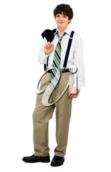 Royalty Free Photo of a Young Boy Wearing a Suit