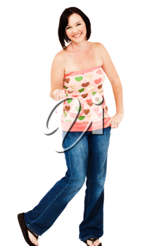 Young woman listening to music on an mp3 player isolated over white