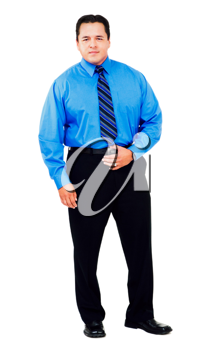Businessman holding his belt isolated over white