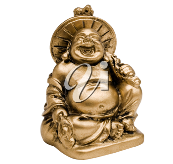 Statue of laughing buddha isolated over white