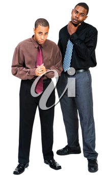Portrait of two businessmen posing together isolated over white