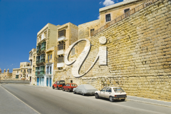 Low angle view of buildings in a city, Valletta, Malta