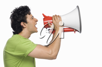 Man holding a megaphone and shouting