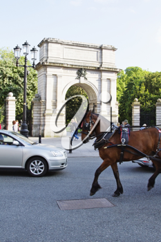 Traffic with an arch at entrance of a public park, Fusiliers arch, St Stephen's Green, Dublin, Republic of Ireland