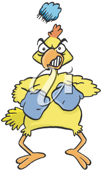 Royalty Free Clipart Image of a Rooster With Boxing Gloves