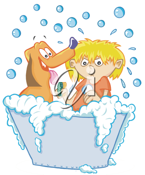 Royalty Free Clipart Image of a Boy Washing a Dog