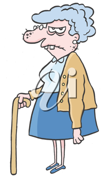 Royalty Free Clipart Image of an Older Woman With a Cane