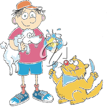 Royalty Free Clipart Image of a Boy With Pets