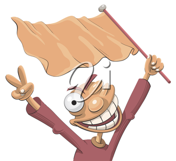 Royalty Free Clipart Image of a Man Waving a Flag