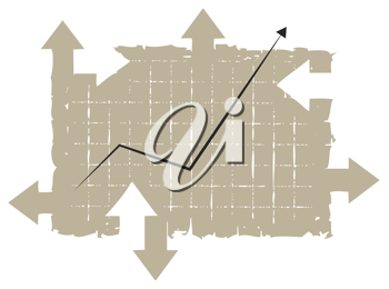 Royalty Free Clipart Image of a Chart Tablet With Arrows Pointing into Different Directions