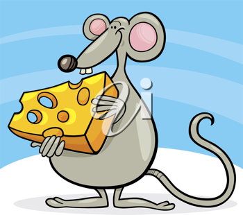 Royalty Free Clipart Image of a Cartoon Mouse With Cheese