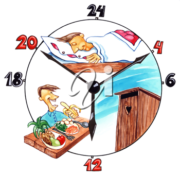 Royalty Free Clipart Image of a Man's Day Shown in a Clock