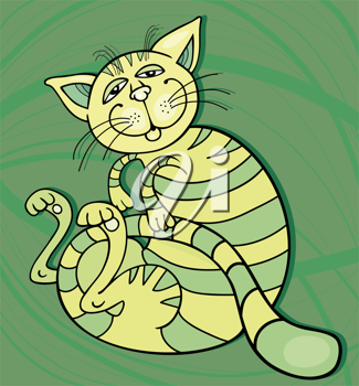 Royalty Free Clipart Image of a Happy Green Cat on Green