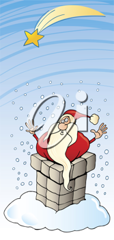 Royalty Free Clipart Image of Santa in a Chimney