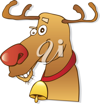 Royalty Free Clipart Image of Rudolph the Red-Nosed Reindeer