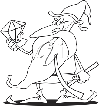 Royalty Free Clipart Image of a Dwarf With a Diamond