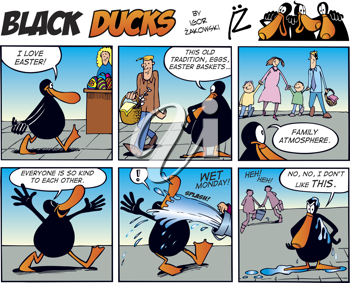 Royalty Free Clipart Image of an Easter Black Ducks Comic Strip