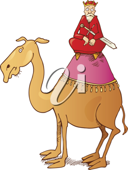 Royalty Free Clipart Image of a King on a Camel