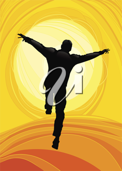 Royalty Free Clipart Image of a Silhouetted Man Jumping