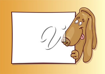Royalty Free Clipart Image of a Hound With a Board