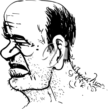 Royalty Free Clipart Image of a Bald Man With Whiskers and a Hairy Back