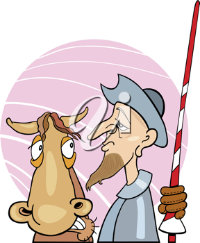 Royalty Free Clipart Image of a Man With a Sword and a Horse