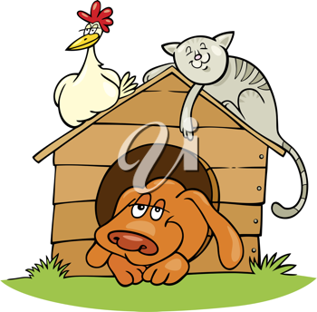 Royalty Free Clipart Image of a Dog, Cat and Rooster on a Doghouse