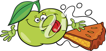 Royalty Free Clipart Image of a Green Apple and Pie
