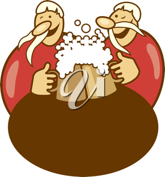 Royalty Free Clipart Image of Two Men With Beer Steins