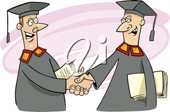 Royalty Free Clipart Image of Two Professors in Gowns and Mortarboards Shaking Hands